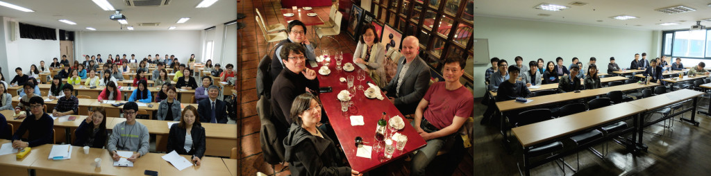 Lecture attendees at Chonbuk National University (left); dinner with hosts at KIGAM, Daejeon (centre); and lecture attendees at the Korea University, Seoul (right)
