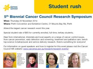 Student rush tickets for the 5th Biennial Cancer Council Research Symposium